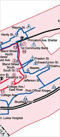 Bluefield Route Map